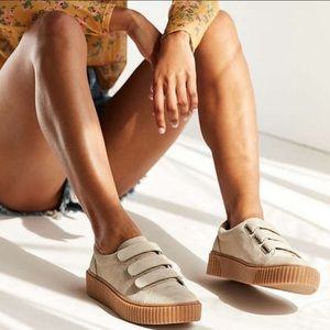 Urban Outfitters Beige Suede Velcro Sneakers